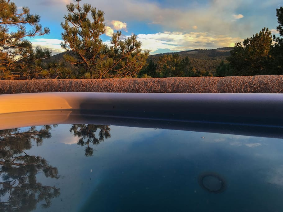 """Soak"" in the views from the two person balcony hot tub and enjoy quiet mountain living that's only a short walk to town."