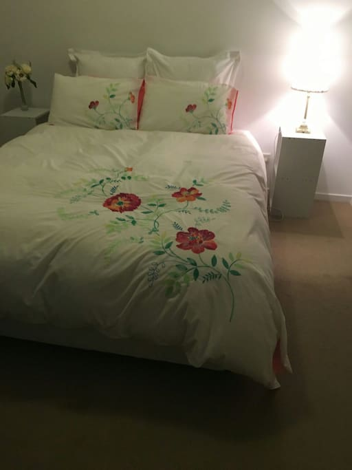 Clean bed, linen and large room