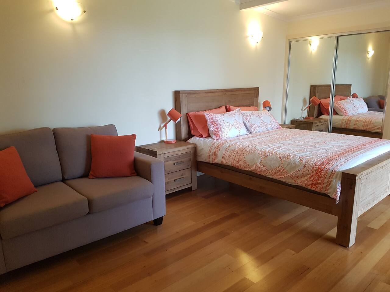 The Studio queen bed and single sofa bed