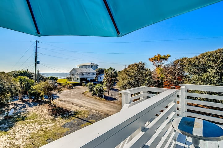 Dog-friendly home with ocean views, free WiFi, & an easy walk to the beach!