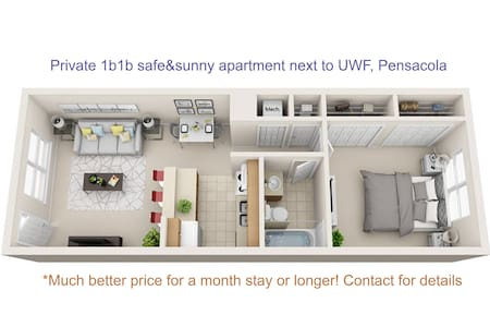 Private & safe apartment next to the University