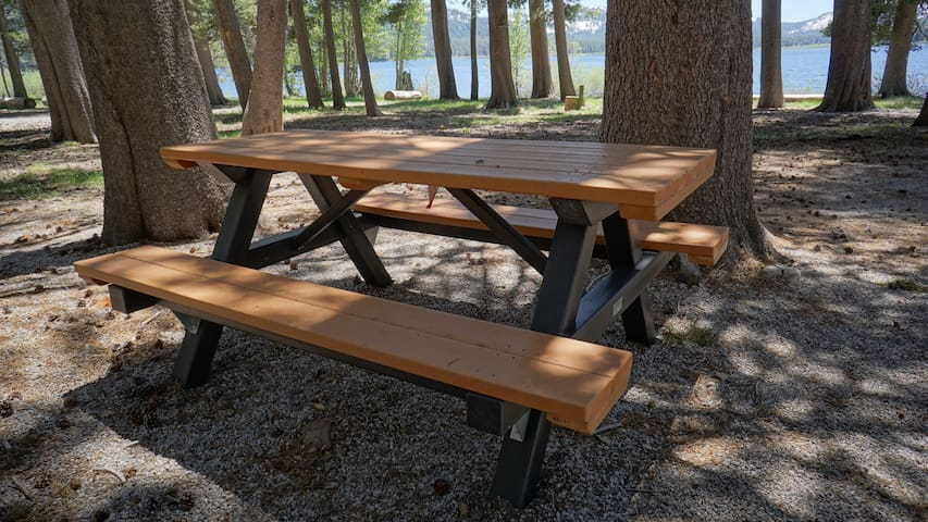 Your campsite comes with a picnic table
