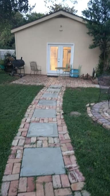 walkway from pool to back door