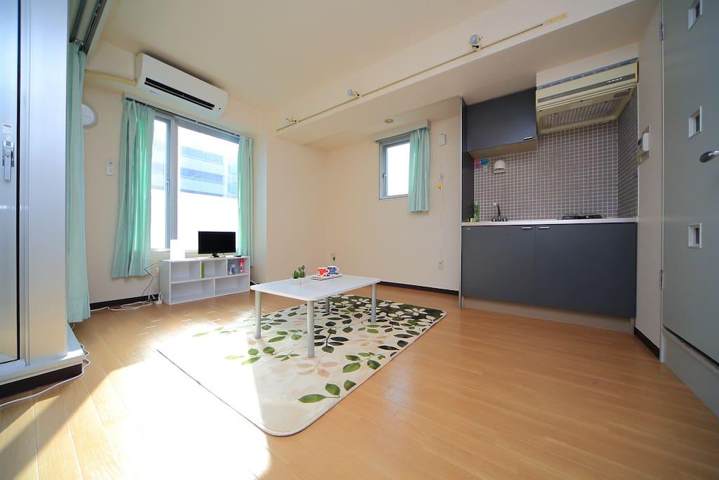It is a simple room kept clean.
