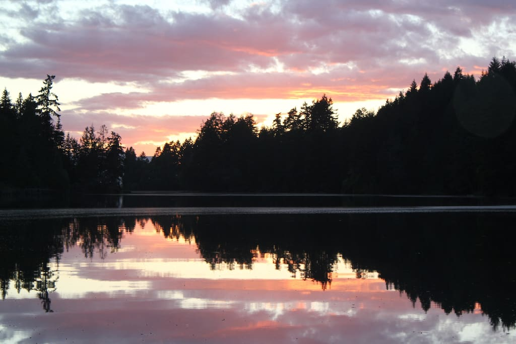 Sunsets are spectacular with the reflection on the still waters of the inlet