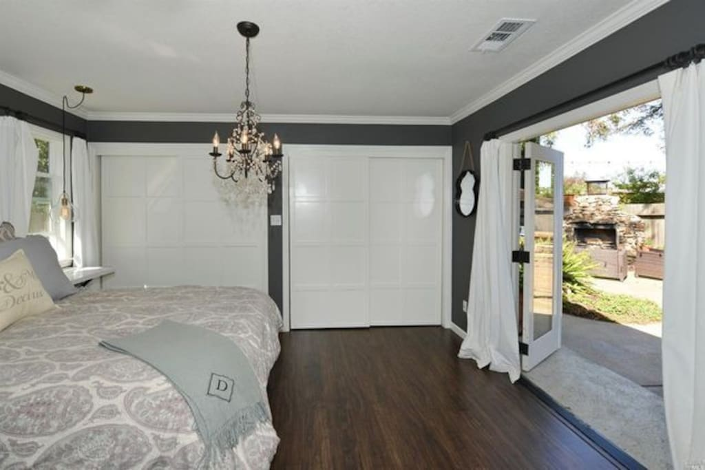 Master bedroom opens to back yard