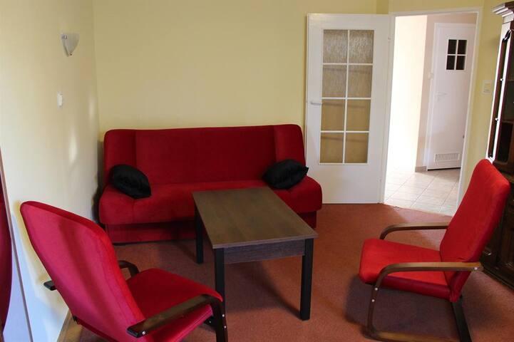 Salonda bir adet açılabilen çekyat ve 2 tane tekli koltuk bulunur.