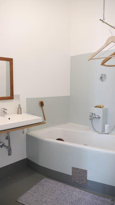 Bathroom; large bath/shower washing machine