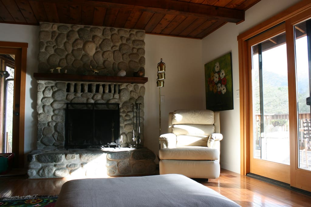 Fireplace in upstairs living room.