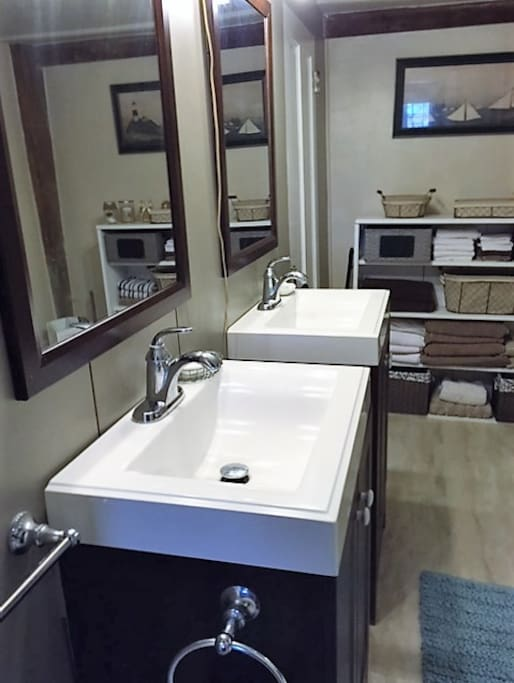 Private bath with double sinks