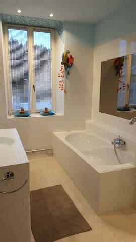 Badkamer met ligbad en massagedouche