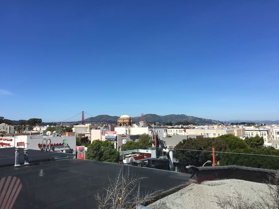 Rooftop access with views of the Golden Gate Bridge