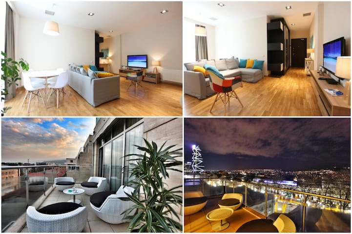 Fascinating apt with terrace & views★★★★★ Downtown