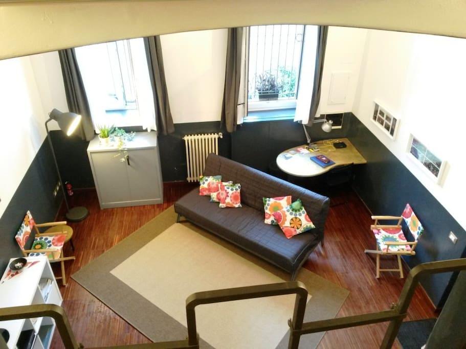 ingresso/soggiorno con divano-letto