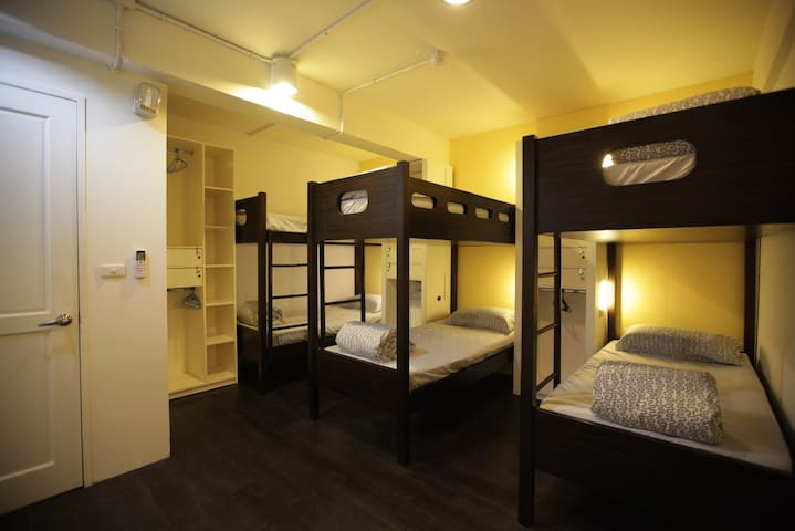 4 bunk beds within the room. There are personal closet and locker for each bed.