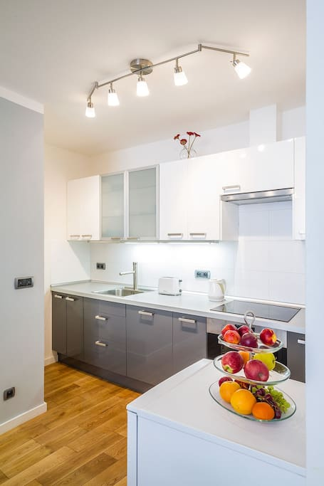 A very new kitchen and equipment - with dishwasher, glasceramic hob, electric owen, fully equiped with pots, bowls, glasses, cookware, electric kettle, toaster, etc.