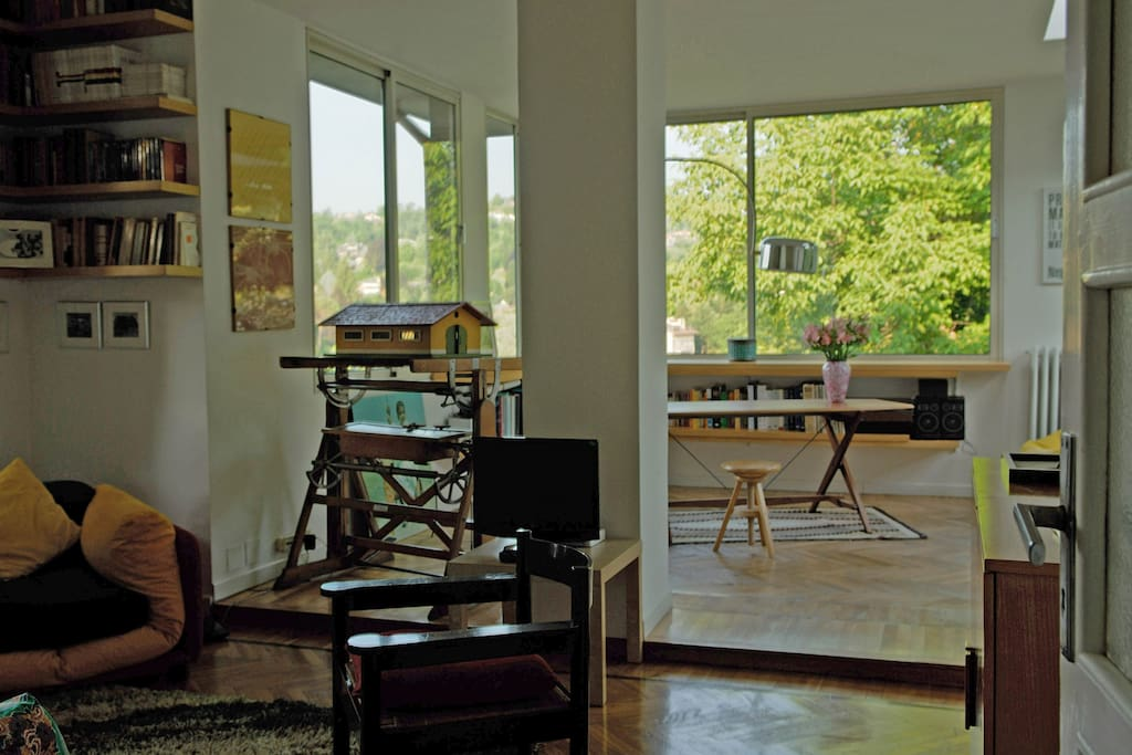the sitting room and the studio