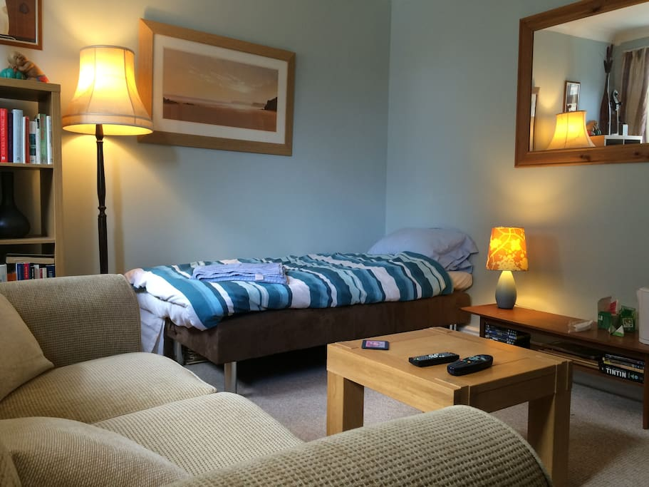 Relax in the bed-sitting room. With tea and coffee facilities and Sky TV.