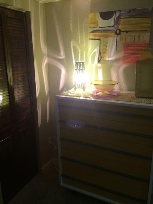 Mod, colorful lighting in bedroom.