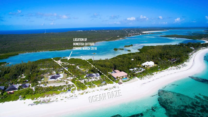 Ocean Daze Estate with stunning water views to the east & west.  Ocean Daze Villa is on the beach and Bonefish  Cottage is on the Sound (Bonefish Flats) Both homes have spectacular water views and are very private, being 700ft apart.