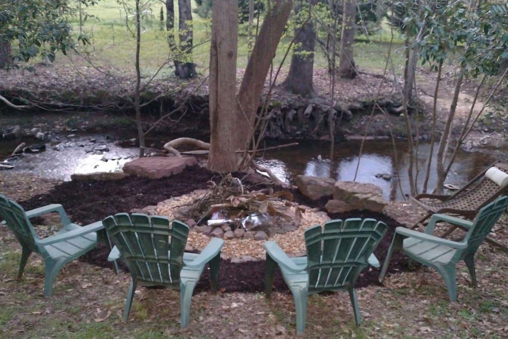 Creekside fire pit.