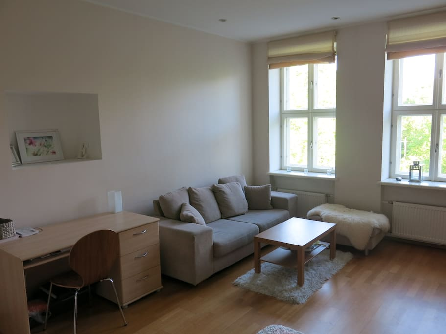 Largest room (26 m2) with a sitting corner, TV, desk´, wardrobe and double bed (140cm)