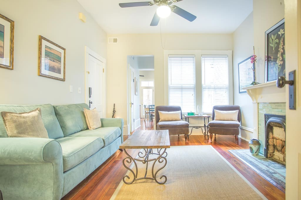 The fully furnished kitchen is located just off the Living Room