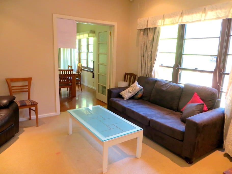 Living room. House has heating.