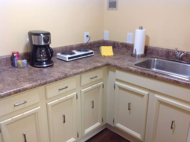 Kitchenette with microwave, fridge, coffee maker, hot plate, and sink.