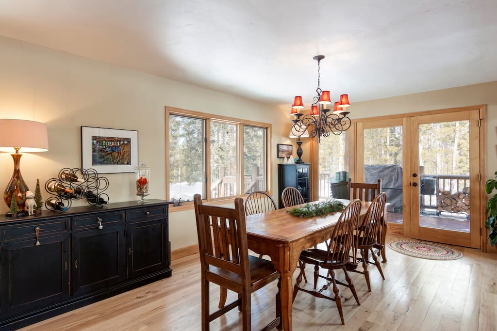 Dining area attaches to kitchen and family room to keep all engaged.
