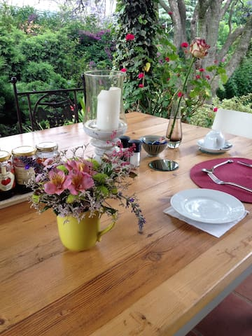 Breakfast on the veranda when the weather is fine