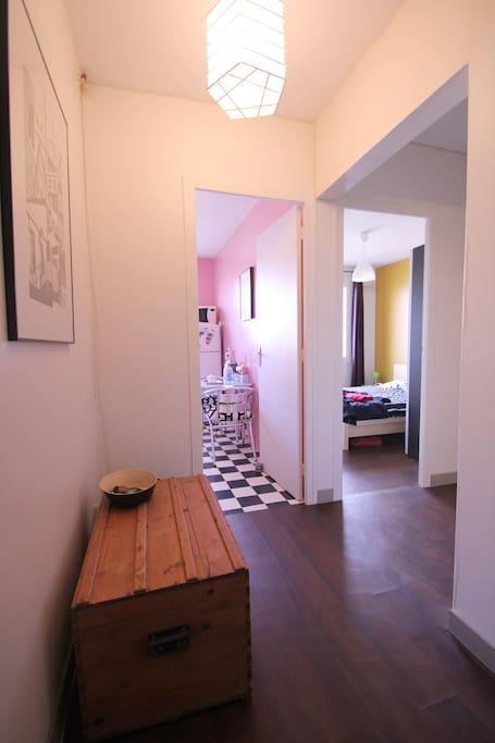 L'entrée de l'appartement, de l'espace.