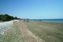 Long sandy beach at walking distance