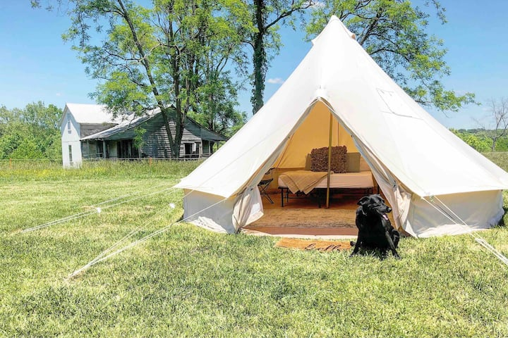 Glamping! 100+acres, ponds, creeks, forest nature!