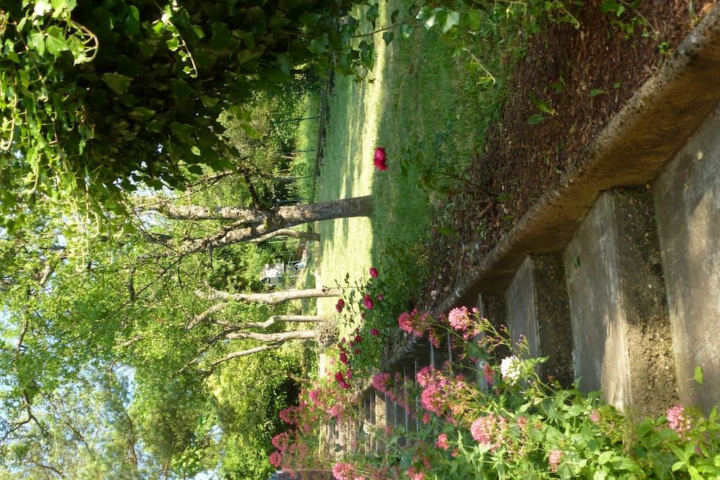 L'escalier bordé de fleurs pour grimper la colline jusqu'à la maison