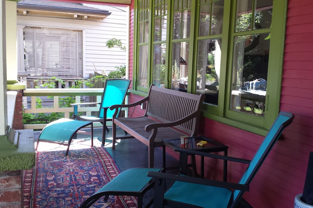 This is one of the smoking lounges--the front porch.