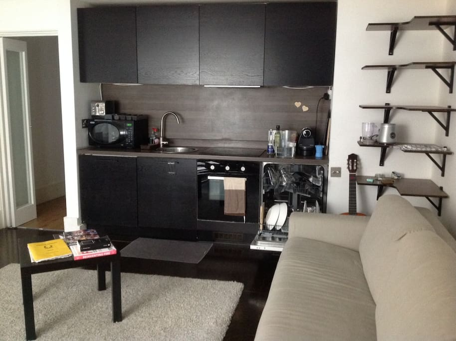 Kitchen and double sofa bed