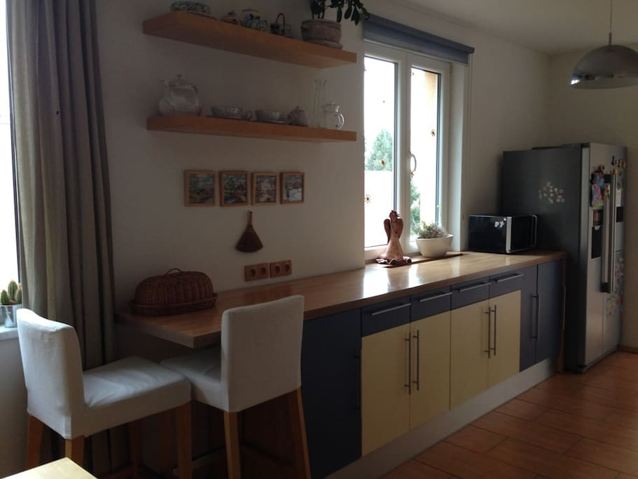 Kitchen with cooker, hot-air oven, dishwasher, microwave oven, American refridgerator with ice maker and coffee machine