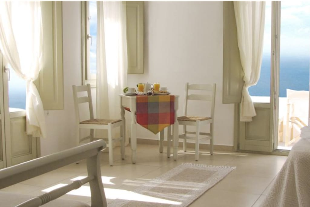 Irida Santorini - Studio 2 - corner superior with 2 private verandas, open plan layout, all facillites on ground level.