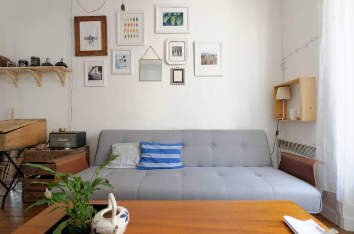Great 2room ON METRO + green court! - Paris - Apartemen