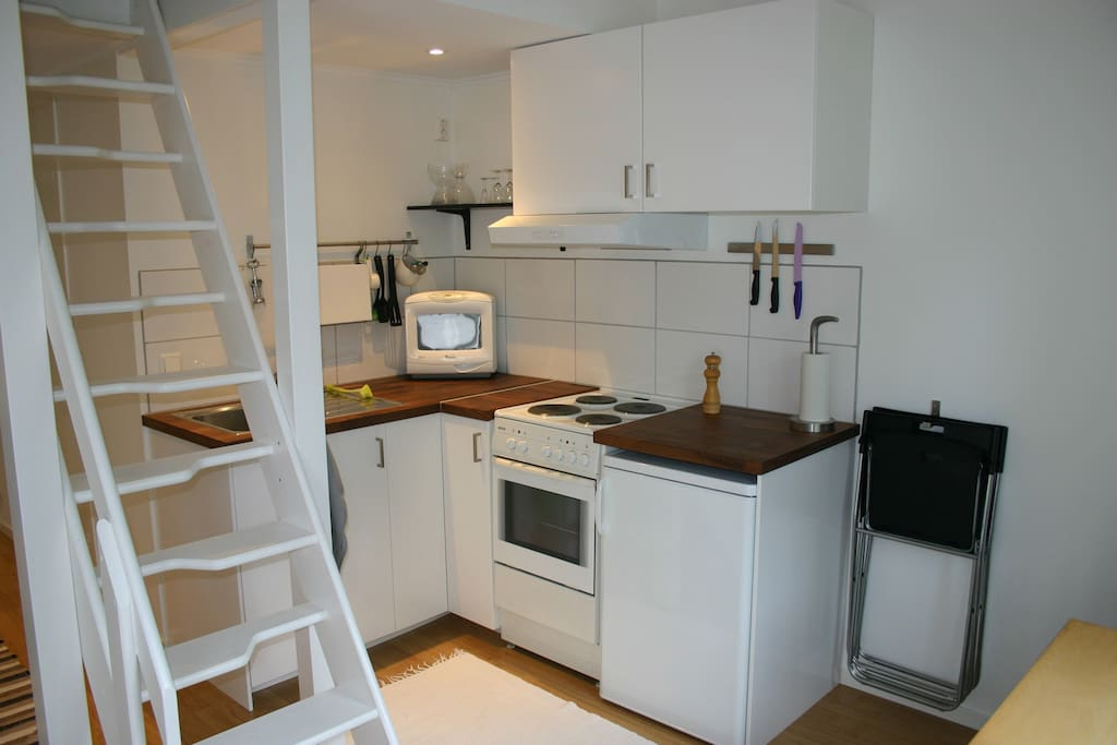 Kitchen corner with stove, oven, microwave, fridge with a small freezer.
