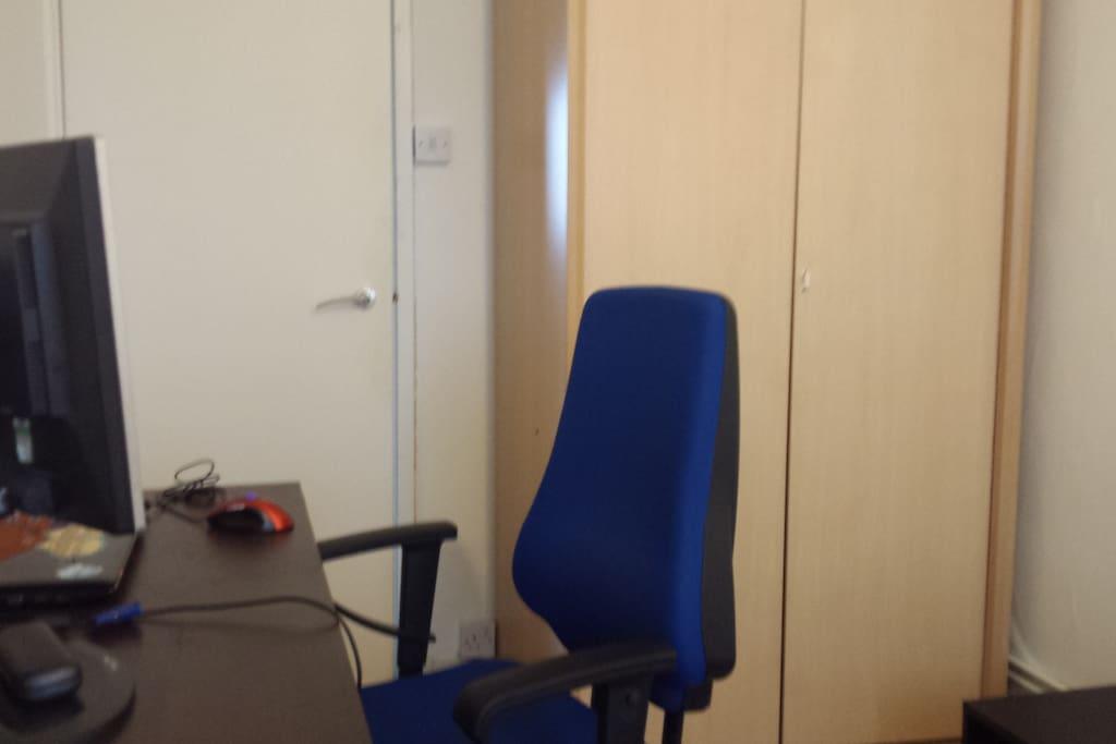 Desk and wardrobe