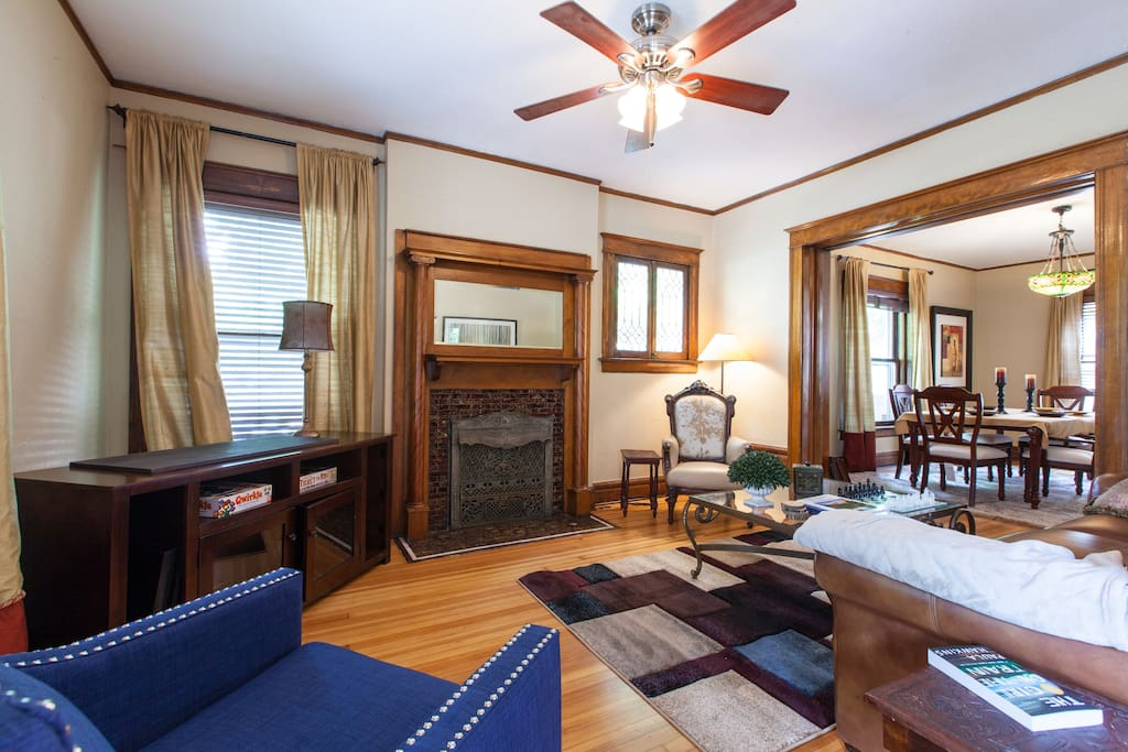 Cozy and inviting family room with unpainted craftsman woodwork
