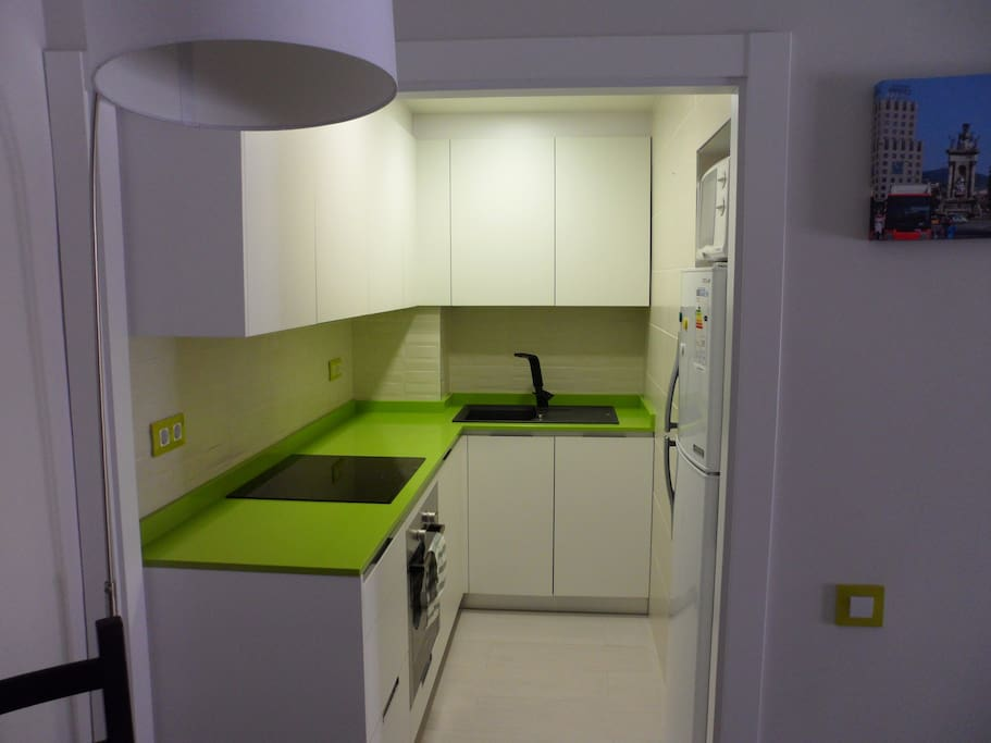 Serviceable kitchen with dishwasher, washing machine, microwave and refrigerator.