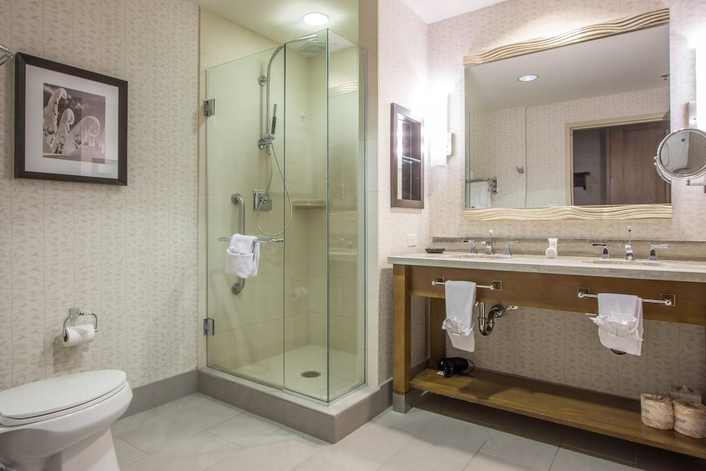 Large bathroom with rain shower and soaking tub too!