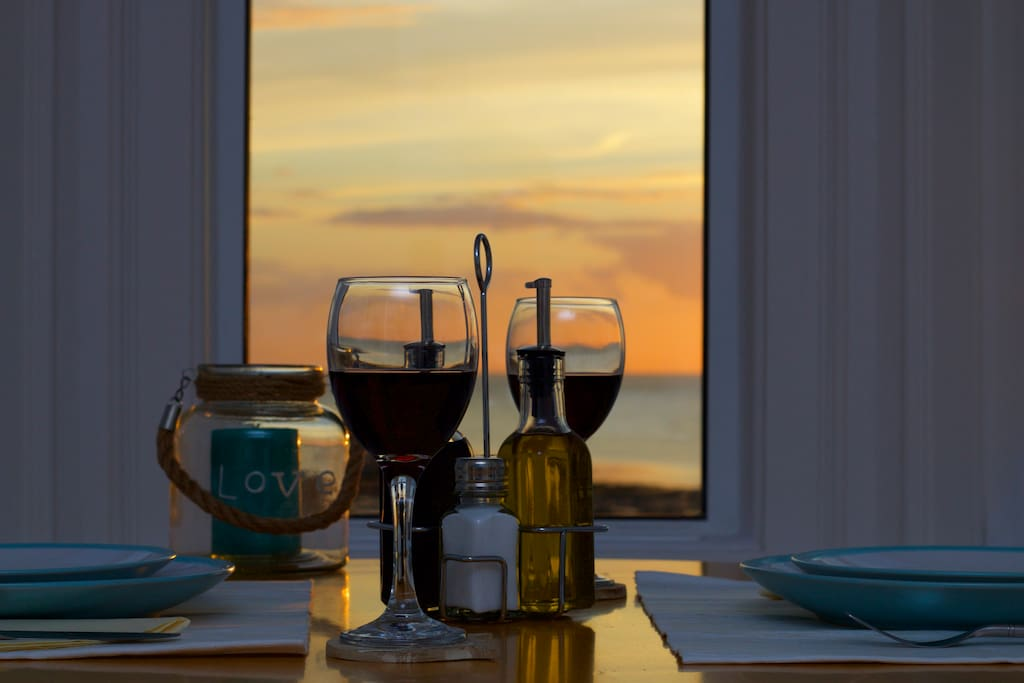 romantic sunset dining