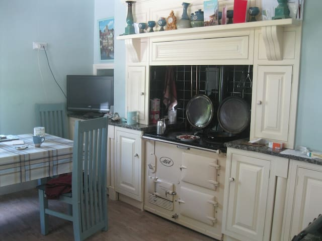 The Aga is the heart  of our kitchen.