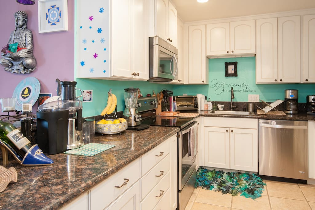 Brand New Remodeled Kitchen with ALL new appliances. Juicer, coffee makers, espresso machine, microwave, toaster oven, blender, stove, oven, water heater, dishwasher