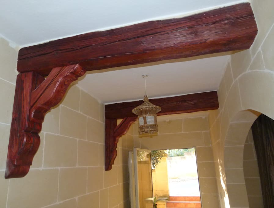 Wooden beams at the entrance