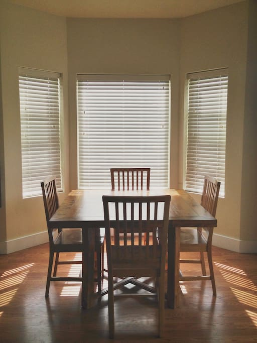Dining area right off the kitchen (more dining chairs available)